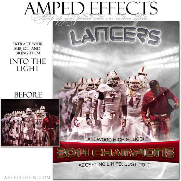 Ashe Design | Amped Effects Sports Templates | Into The Light football web display