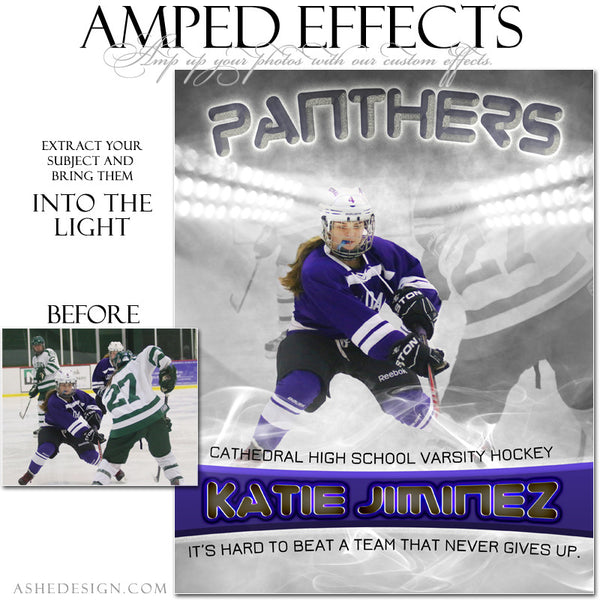 Ashe Design | Amped Effects Sports Templates | Into The Light hockey web display