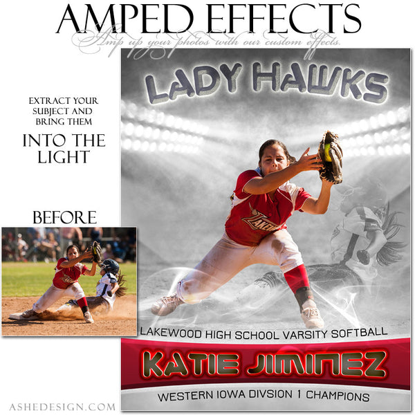Ashe Design | Amped Effects Sports Templates | Into The Light softball web display