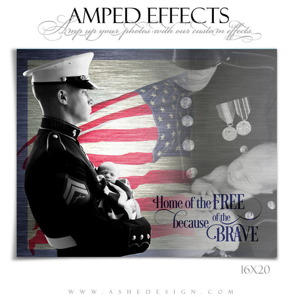 Ashe Design | Amped Effects Photography Template 16x20 | Home Of The Free