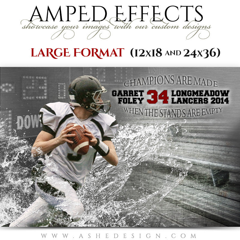Ashe Design | Amped Effects Large Format Sports Templates | Wash Out-football