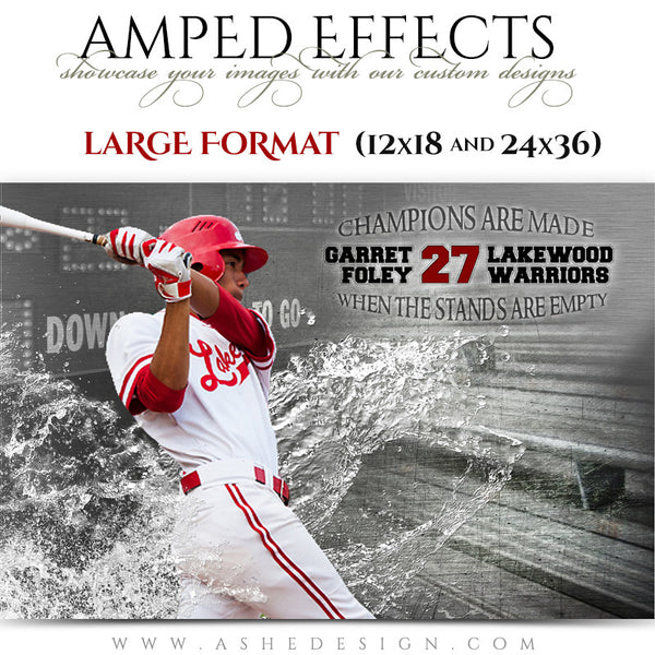 Ashe Design | Amped Effects Large Format Sports Templates | Wash Out-baseball