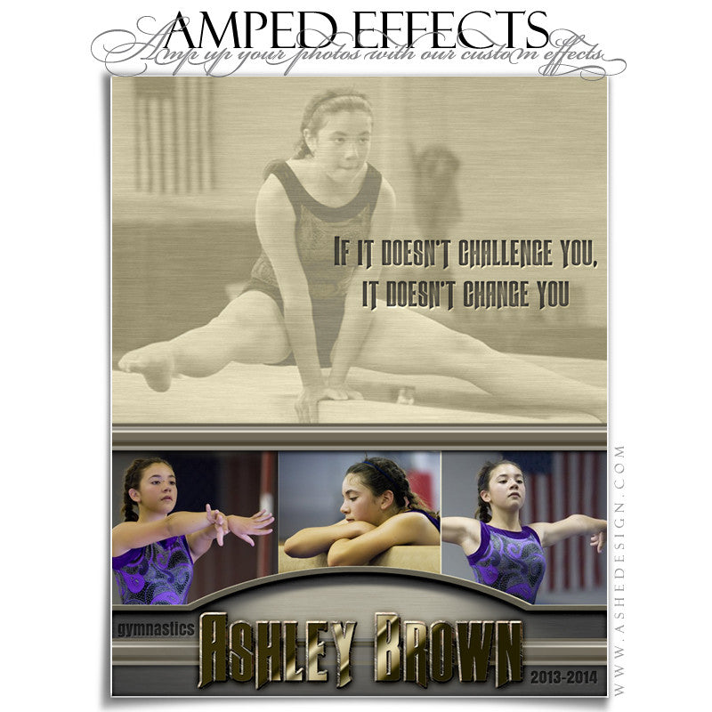 Ashe Design | Amped Effects Sports Templates | Silver And Gold gymnastics