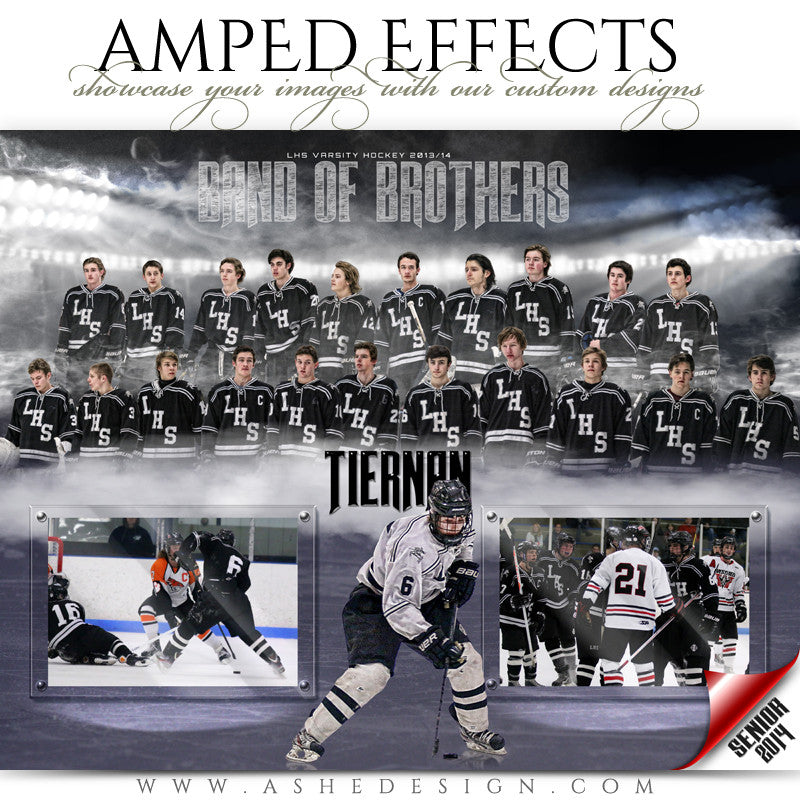 Ashe Design | Amped Effects Sports Templates | Band Together Hockey web display