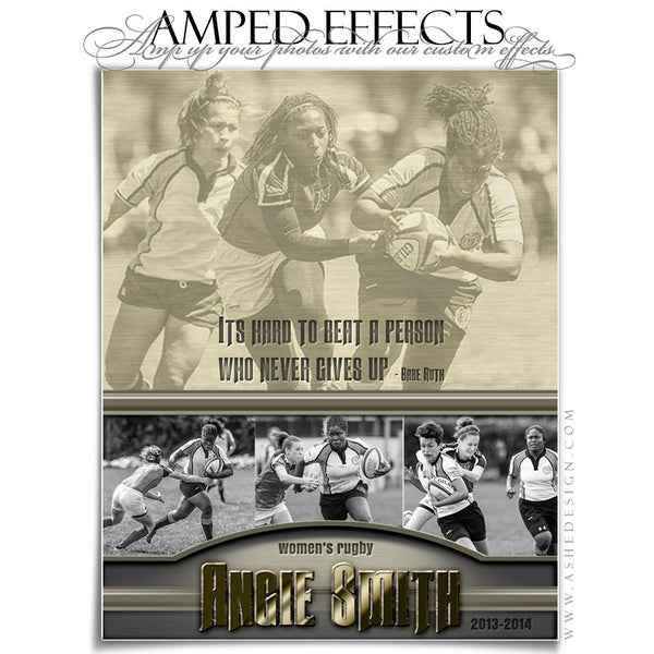 Ashe Design | Amped Effects Sports Templates | Silver And Gold rugby