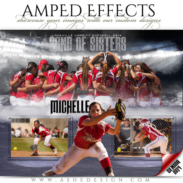 Ashe Design | Amped Effects Sports Templates | Band Together Softball web display