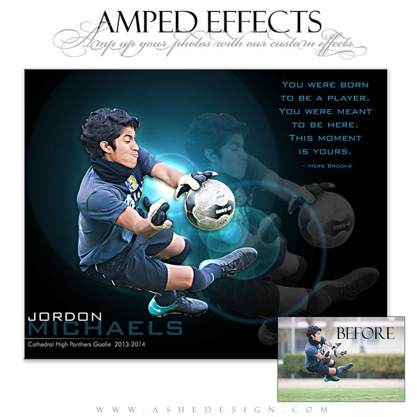 Ashe Design | Amped Effects Sports Templates | This Moment Is Yours Soccer web display
