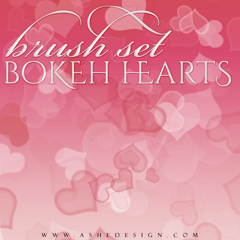 Ashe Design | Photoshop Brush Set | Bokeh Hearts full set web display