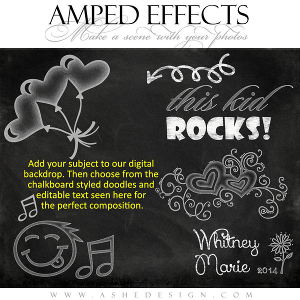 Ashe Design | Amped Effects | Chalkboard Scenes | Kid Rock Doodle example1 web display