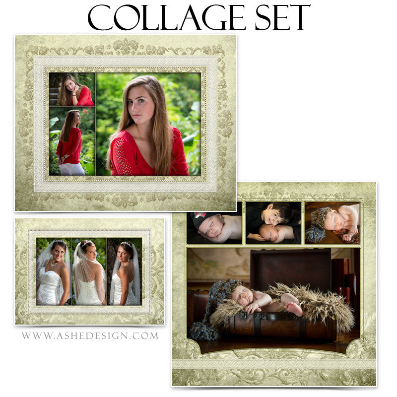 Collage Template Set | Ivory Damask
