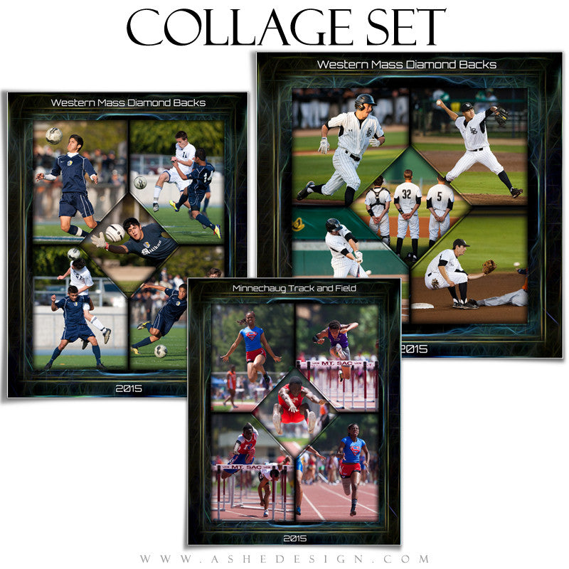 Sports Collage Set | Neon Framed