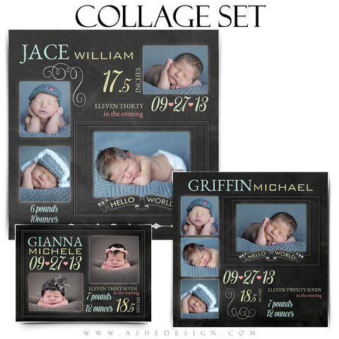 Chalkboard Babies Collage Templates for Photographers