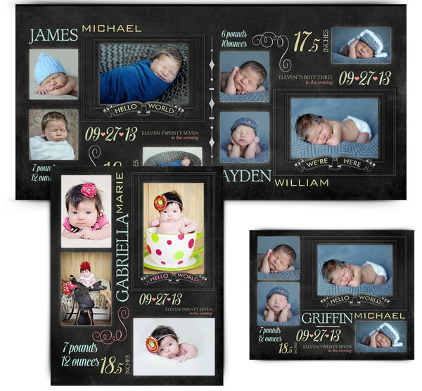 Chalkboard Babies Collage Set 8x10,11x14,10x20 full web display