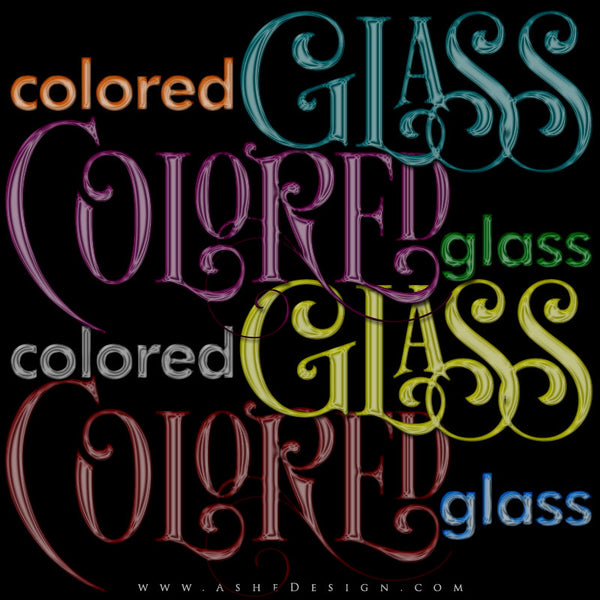 Photoshop Layer Styles - Colored Glass examples web display