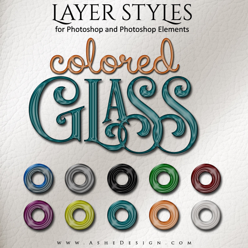 Photoshop Layer Styles - Colored Glass Full Set web display