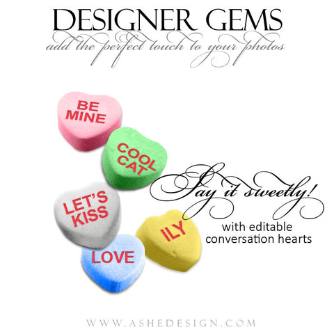 Designer Gems - Conversation Hearts full set web display