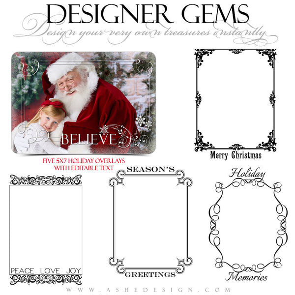 Designer Gems | 5x7 Holiday Overlays Set 2