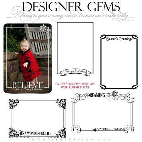Designer Gems | 5x7 Holiday Overlays