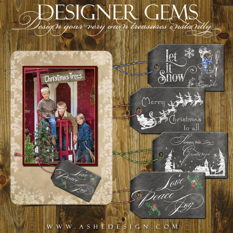 Designer Gems for Photoshop | Chalkboard Holiday Tags