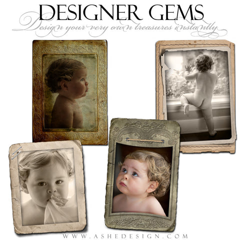 Designer Gems Photography Elements | Vintage Paper Frames Set 2