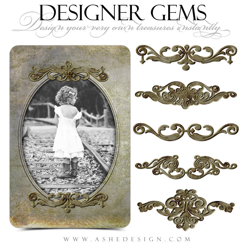 Antique Bronze Photo Holders - Designer Gems Full Set - Web display