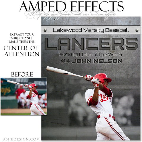 Ashe Design | Amped Effects Sports Templates | Center Of Attention Engraved Metal Baseball example web display