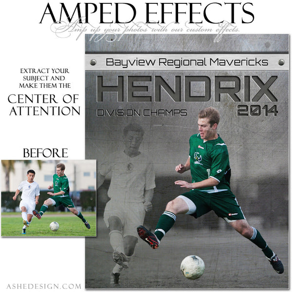 Ashe Design | Amped Effects Sports Templates | Center Of Attention Engraved Metal Soccer example web display