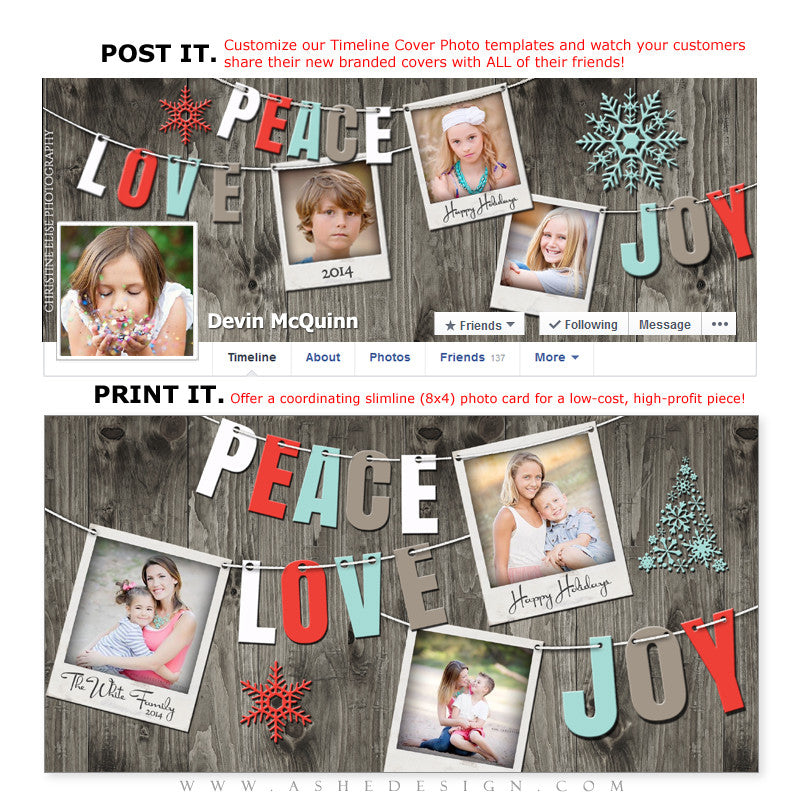 Post & Print Templates | Holiday Pennant