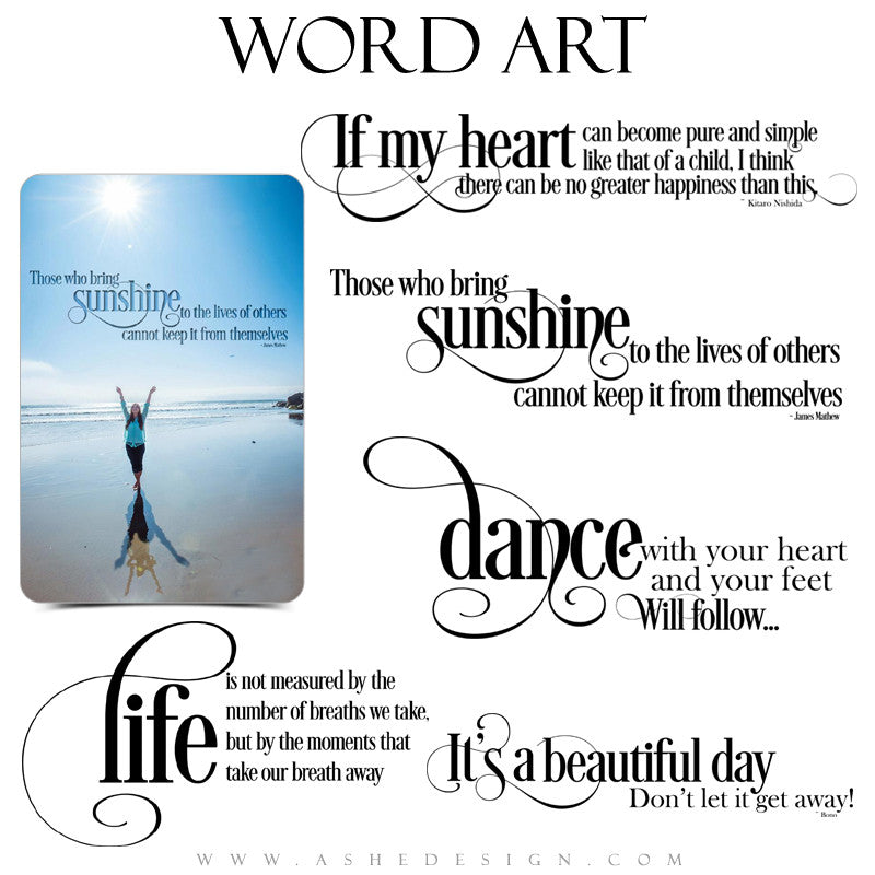 Take My Breath Away Word Art Collection full set web display