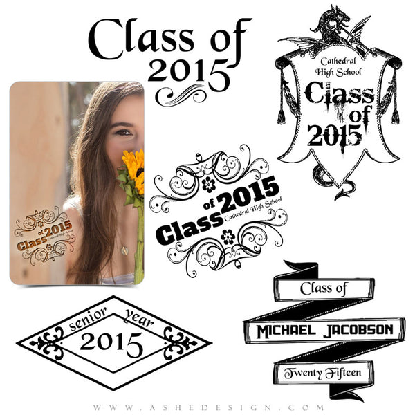 Customizable Photoshop Word Art | Class Of 2015 Flourish full set