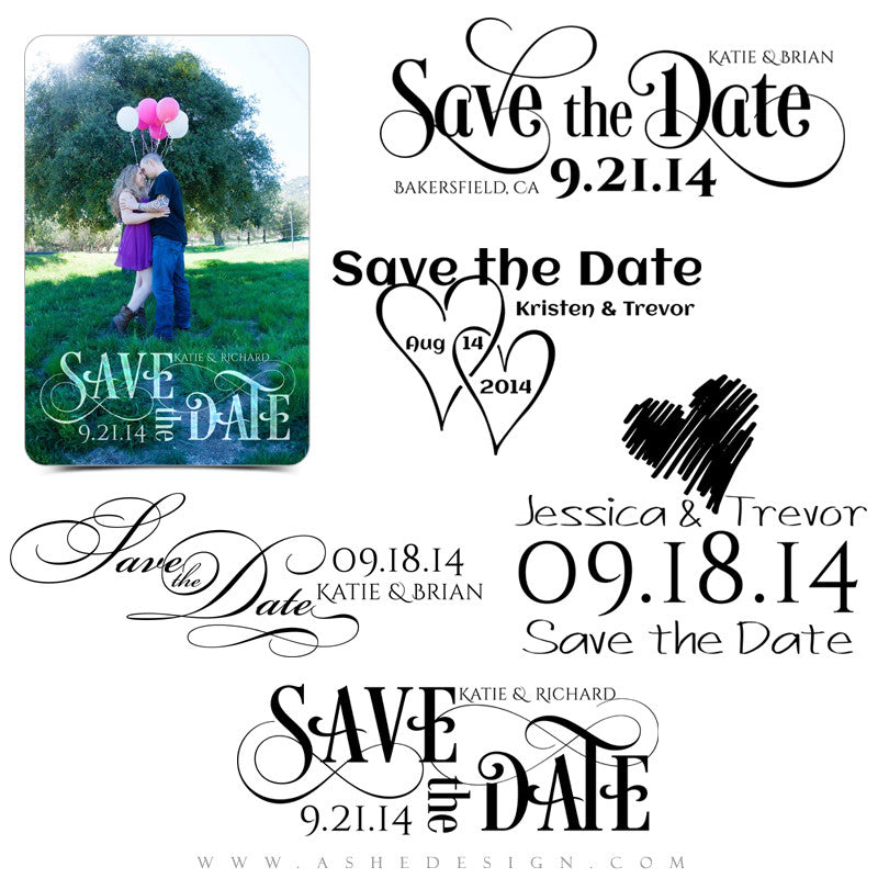 Customizable Word Art Stamps | Save The Date2 full set