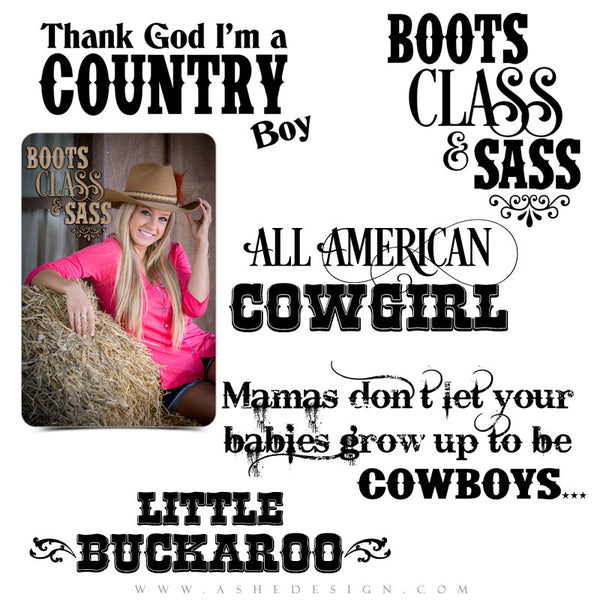 Photography Word Art Set | Cowboys & Cowgirls full set