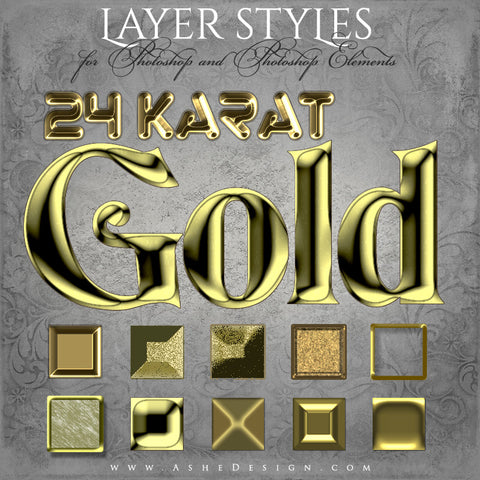 Designer Gems - Photoshop Styles - 24kt Gold full set