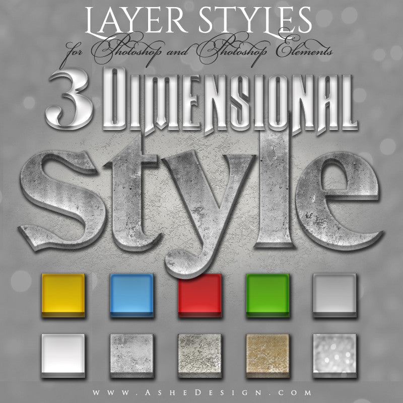 Designer Gems - Photoshop Layer Styles - 3D Full Set web display