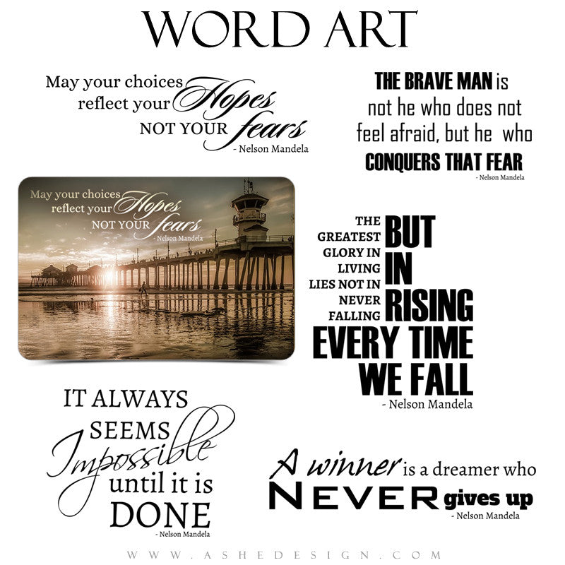 Word Art Collection - Nelson Mandela Quotes full set web display