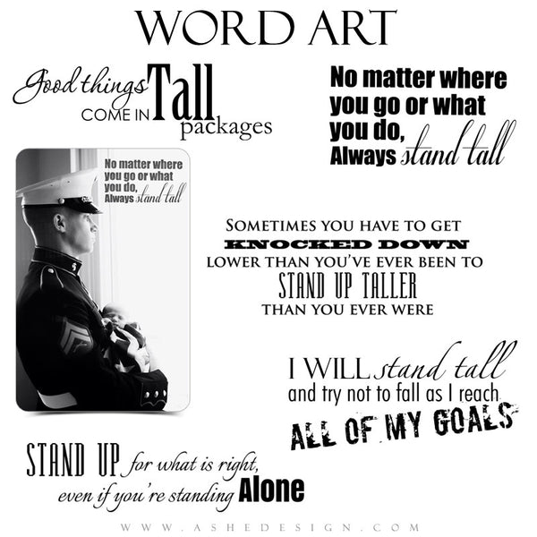 Word Art Collection - Standing Tall full set web display