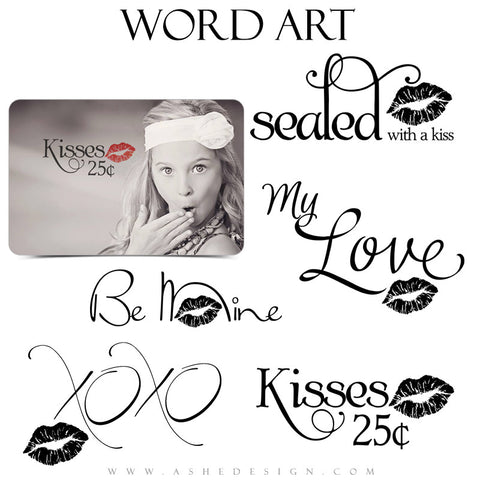 Ashe Design | Word Art Collection - Sealed With A Kiss full set web display
