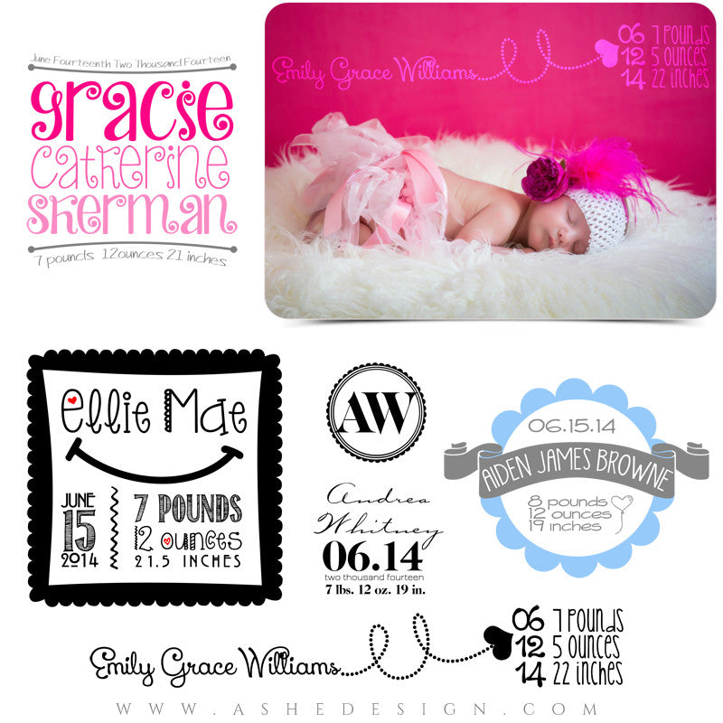 Newborn Word Art | Welcome Little One full set