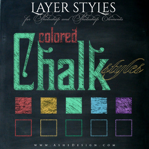 Designer Gems - Photoshop Styles - Colored Chalkboard full set web display