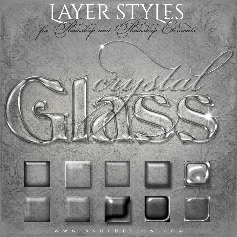 Designer Gems-Photoshop Style Set-Crystal Glass full set web display