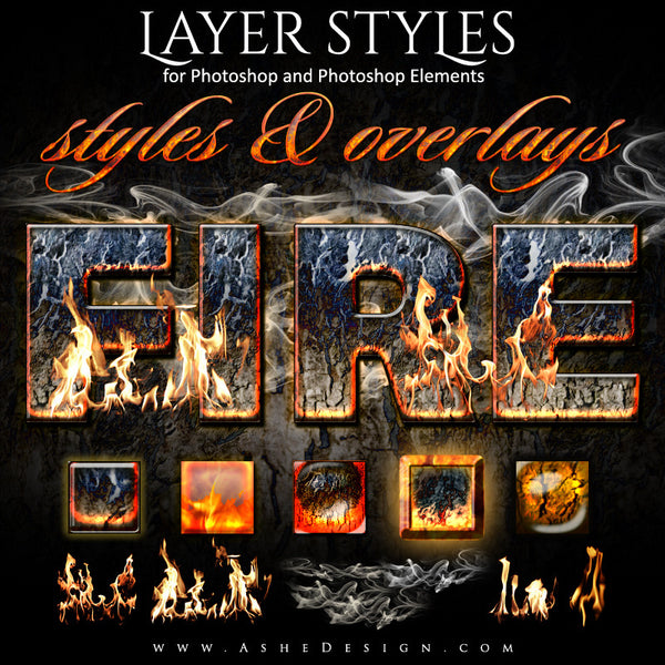 Ashe Design | Photoshop Layer Styles | Fire Full Set web display