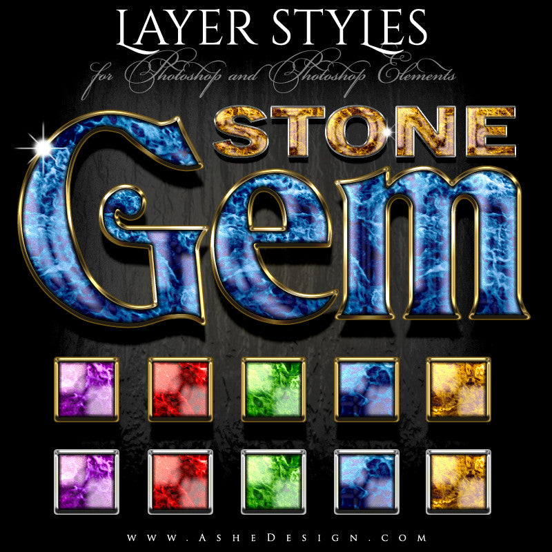 Designer Gems - Photoshop Layer Styles - Gem Stone - full set web display
