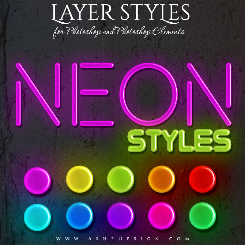 Ashe Design | Photoshop Layer Style Set | Neon
