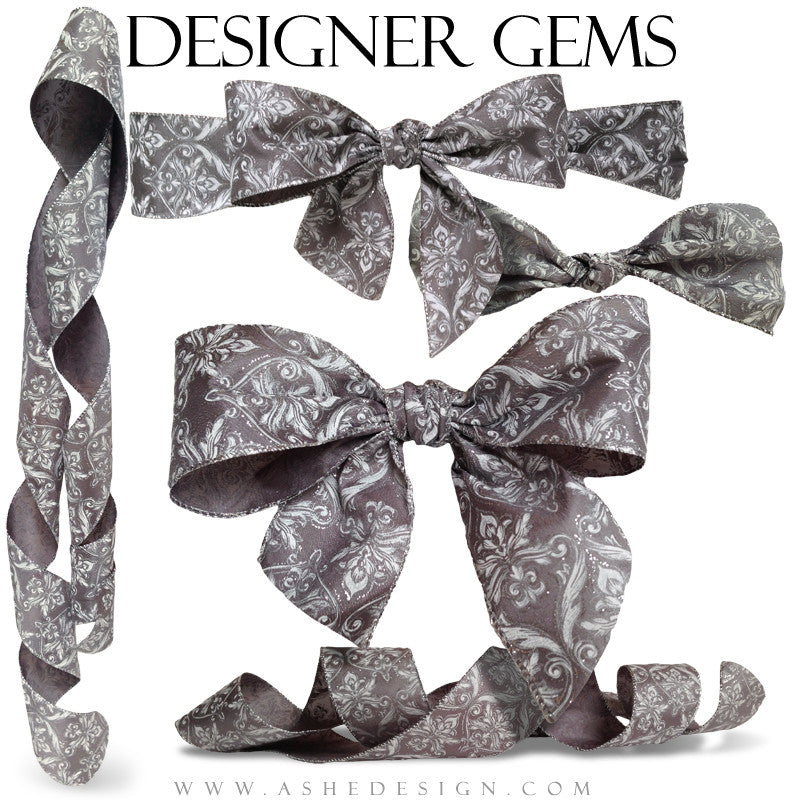 Designer Gems - Silver Damask Ribbons Full set web display