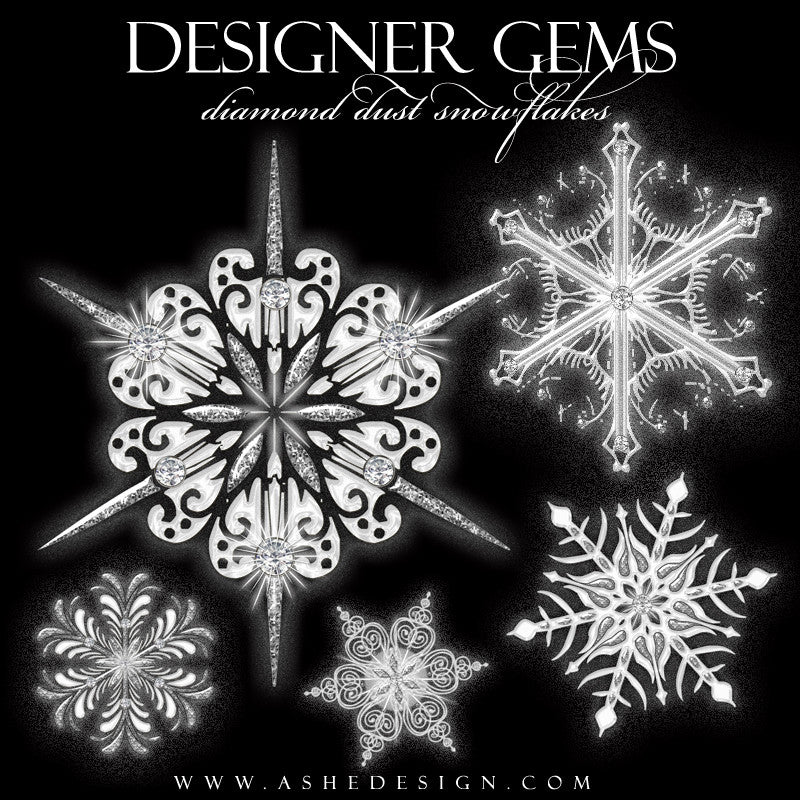 Designer Gems - Diamond Dust Snowflakes web display full set