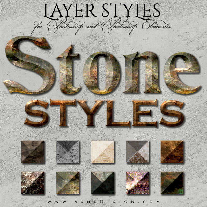 Photoshop Style Set - Stone full set web display