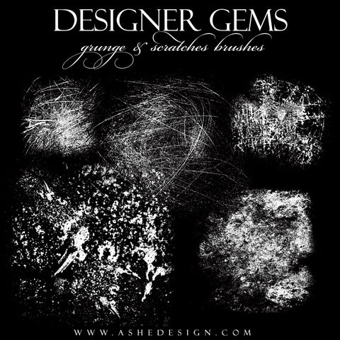 Ashe Design | Photoshop Brushes | Grunge & Scratches full set web display