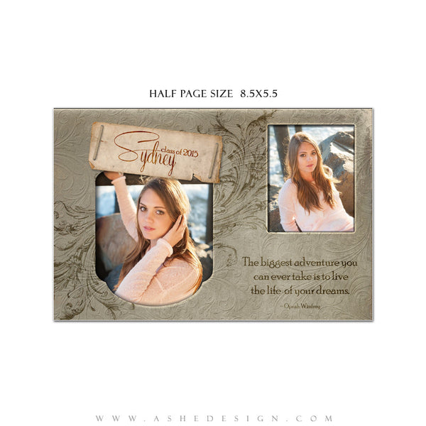 Senior Yearbook Ads for Photoshop | Dolce half page