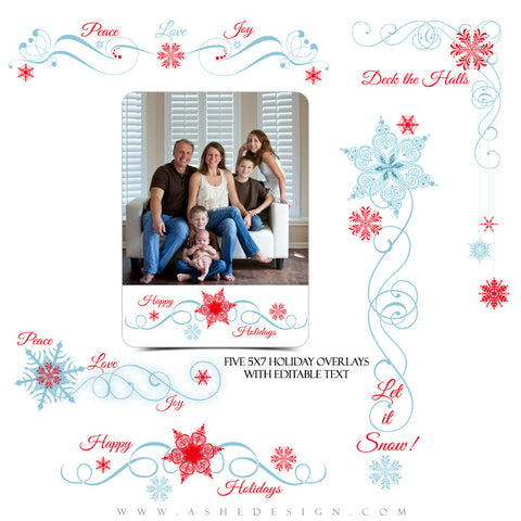 Designer Gems | 5x7 Holiday Overlays - Deck The Halls full set