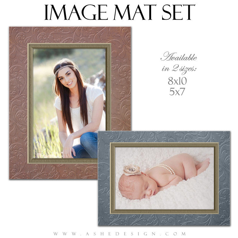 Image Mat Set - 5x7 & 8x10 | Embossed Swirls full set